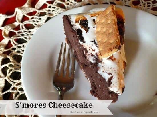 plate with chocolate smores cheesecake