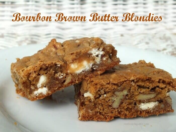 Bourbon Brown Butter Blondies on a plate
