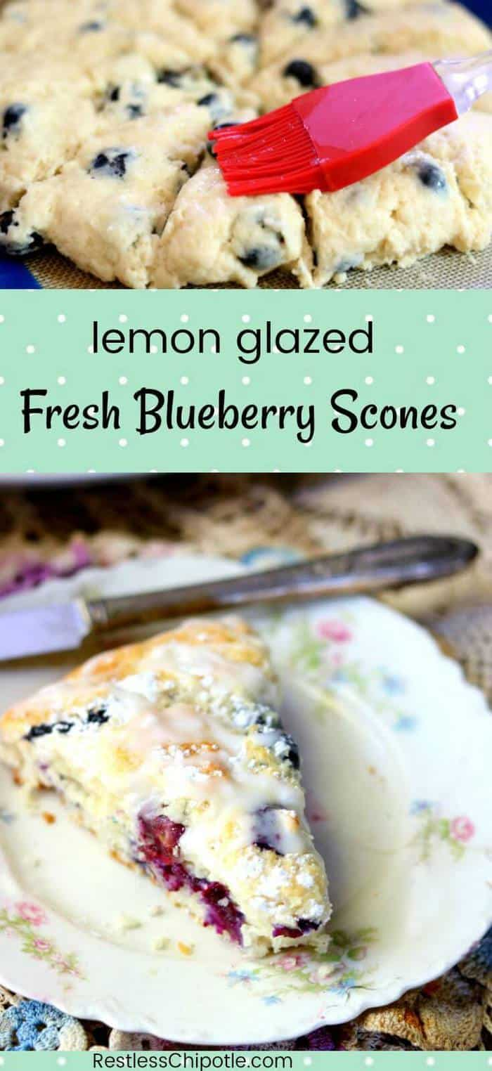 These easy lemon blueberry scones with their tangy lemon glaze taste just like a bite of summer - this recipe is a family favorite. Lots of plump, ripe blueberries are enveloped in a buttery, flaky dough with just a hint of lemon. Hints for making perfect scones included! from RestlessChipotle.com #BlueberryScones #blueberrysconesrecipe #lemonblueberryscones