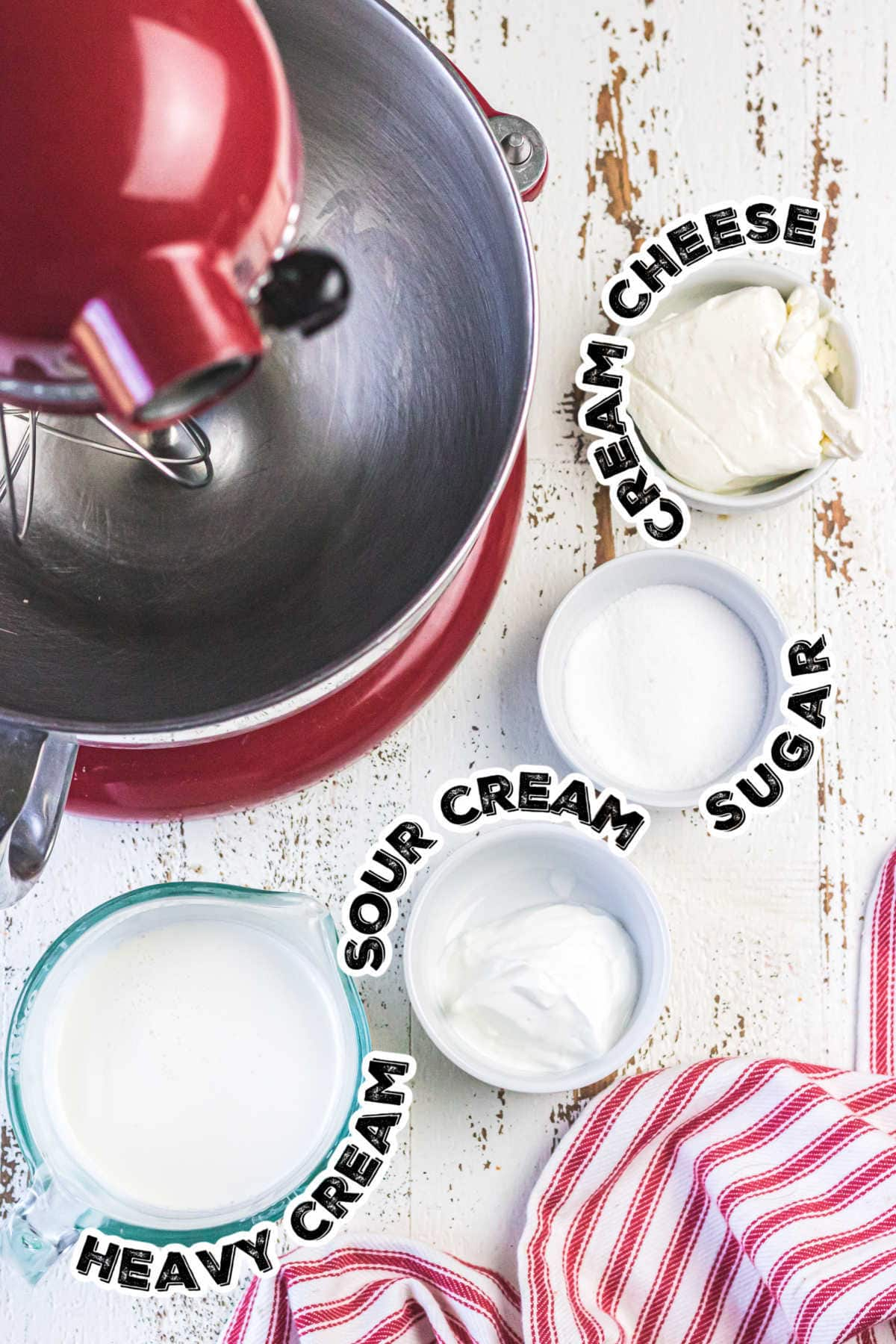 Labeled ingredients for faux Devonshire cream.