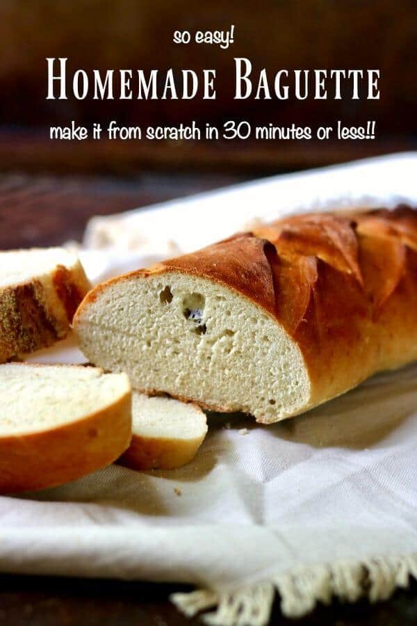 A homemade baguette being sliced - the title image for this post.