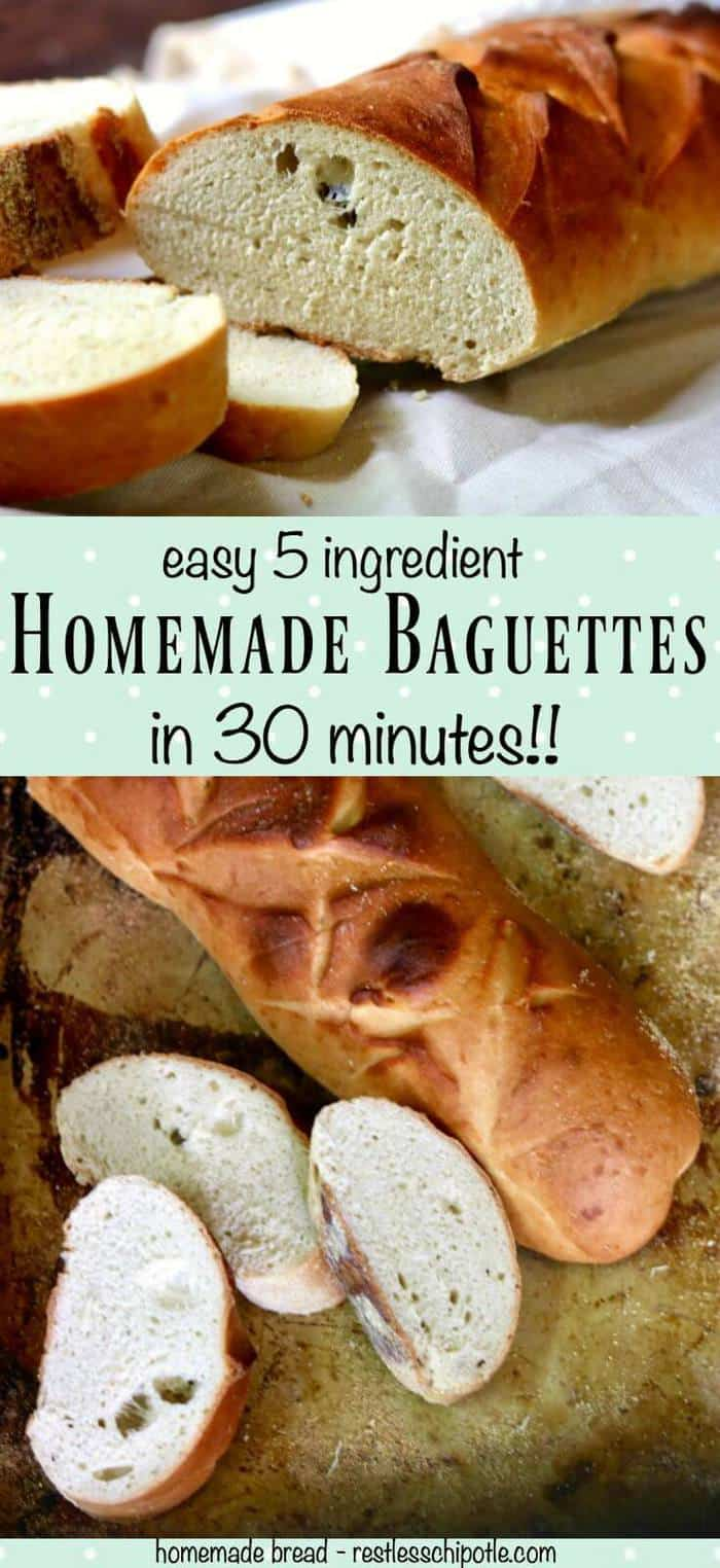 Quick and easy, this homemade baguette recipe is ready  in 30 minutes. So easy a beginning bread baker can make it.
