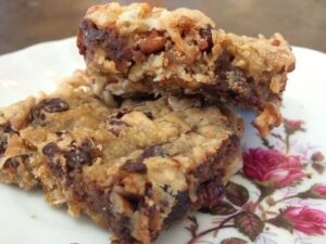 coconut cranberry blondies with chocolate