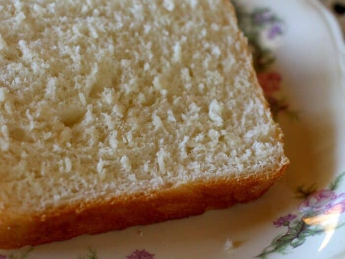 Closeup of a slice of amish white bread on a plate