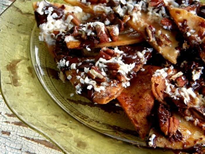 grilled dessert nachos on a platter|restlesschipotle.com