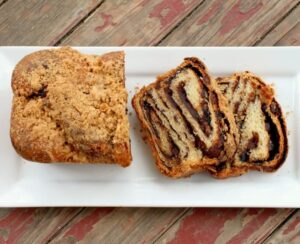 chocolate and chipotle babka sliced