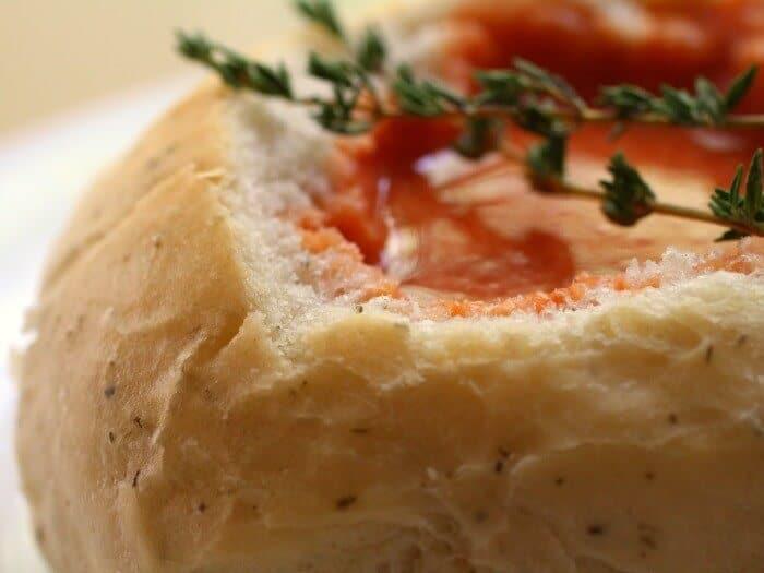 close up of italian bread bowls