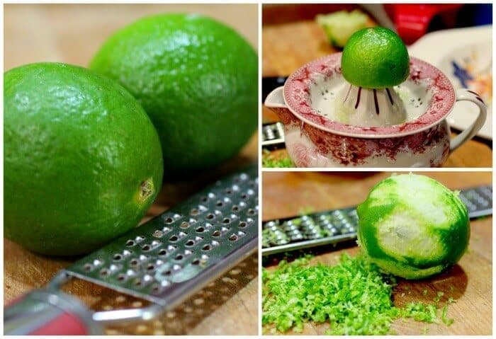 Steps to removing lime zest to use in a recipe.