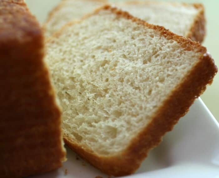 A closeup of a slice of Pullman loaf bread - also known as pain de mie