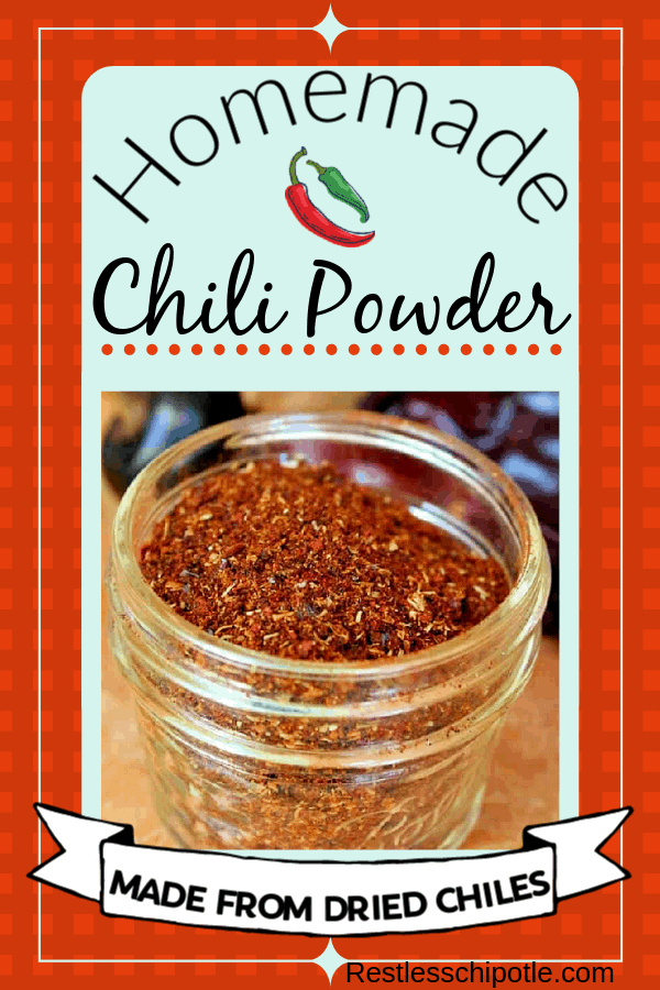Easy DIY chili powder seasoning mix recipe! SO fresh because you make it from a mixture of chiles that you grind yourself to get the perfect flavor for you. #simple #homemade #chili #best #restlesschipotle