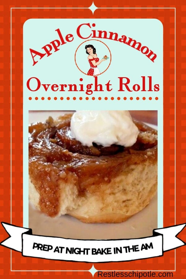 Make ahead overnight cinnamon rolls with sweet apple filling is the best fall brunch ever. Easy recipe! #homemade #easy #makeahead #restlesschipotle