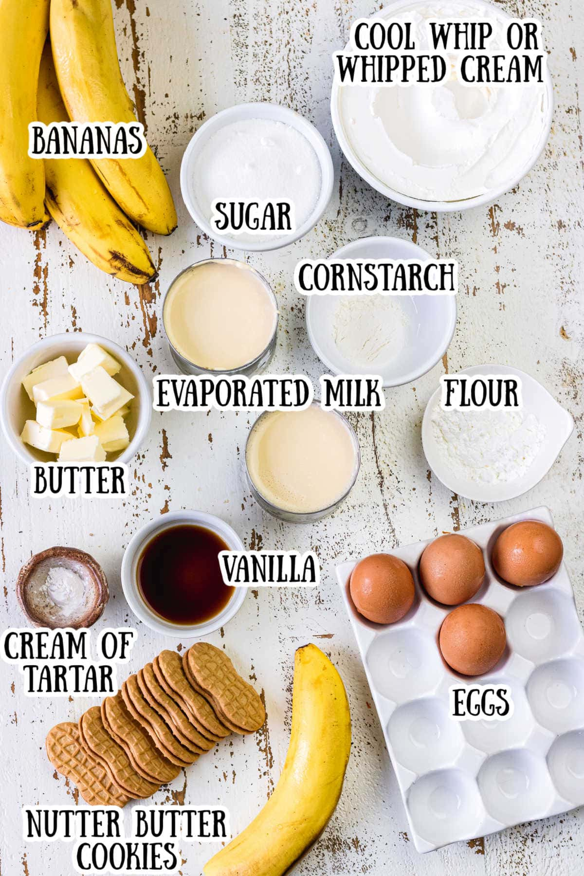 Ingredients for Nutter Butter Banana Pudding