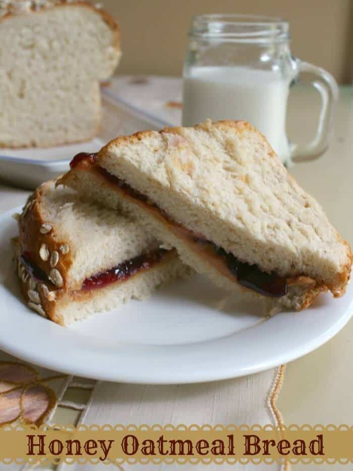 peanut butter and jelly sandwich made with honey oatmeal bread