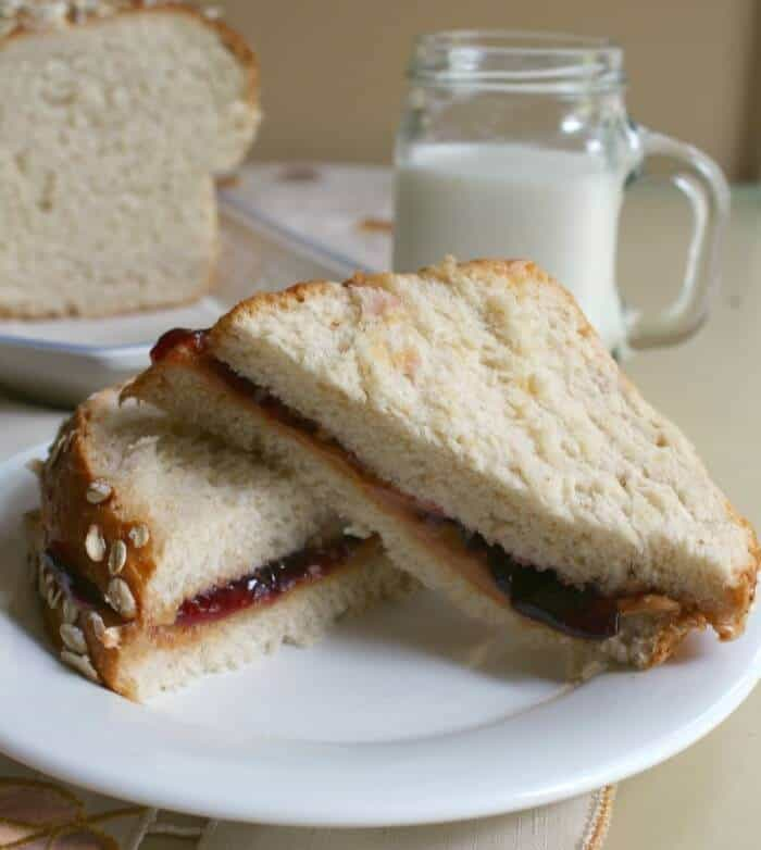 peanut butter and jelly sandwich made out of honey oatmeal bread