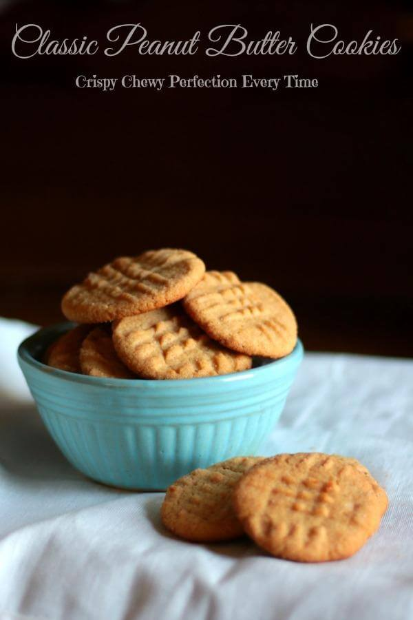 Crispy on the outside, chewy on the inside. These old fashioned peanut butter cookies are our favorite! From RestlessChipotle.com