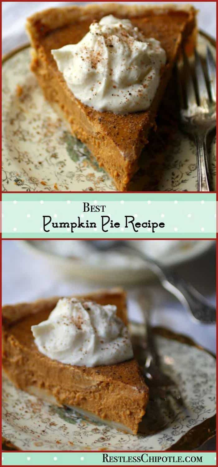 The best pumpkin pie recipe ever! Sweet, spicy, creamy, and full of old fashioned homemade pumpkin pie goodness! An easy recipe From RestlessChipotle.com