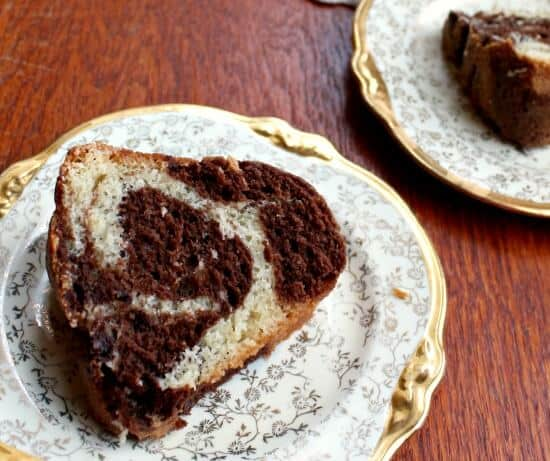 Beautiful swirls of chocolate and vanilla cake in the old fashioned marble pound cake recipe -restlesschipotle.com