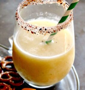 Frozen Tropical Margarita Recipe with Sweet Chile Rim
