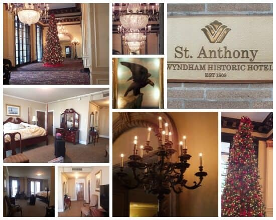 A collage of some of the antique features at the Historic St Anthony hotel in San Antonio - restless chipotle.com