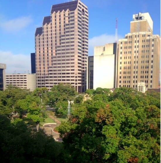 view from our room at the historic St Anthony Hotel in San Antonio -restlesschipotle.com