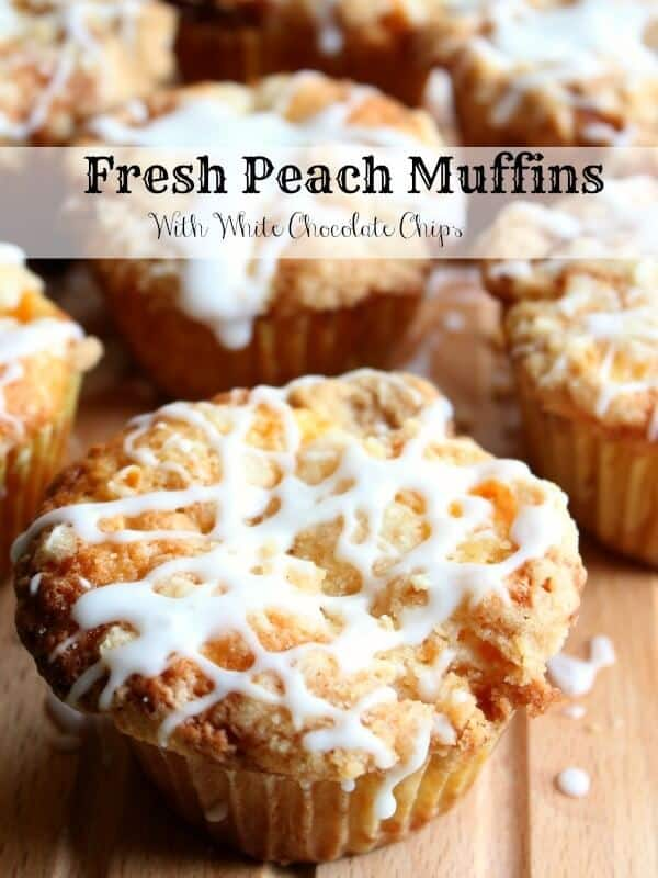 fresh peach muffins with white chocolate chips and streusel AND a bourbon glaze are little bites of summer. So good! Freeze well. #muffins #recipes Restlesschipotle.com