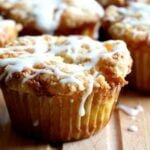 peach muffins with white chocolate chips streusel and a bourbon glaze are summer on a plate... from restlesschipotle.com