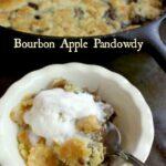 Bourbon apple pandowdy in a serving dish