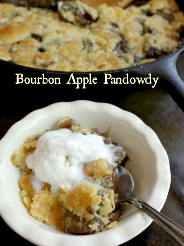 Apple pandowdy in a serving dish with a skillet in the background. Title text overlay.
