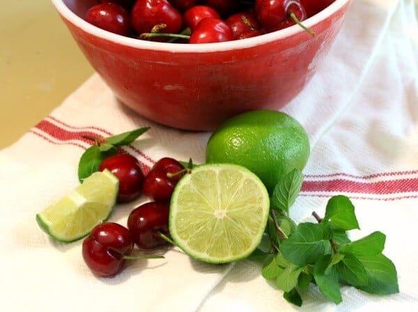 ingredients for cherry mojito recipe -- find the recipe at restlesschipotle.com
