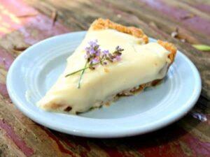 slice of lemon icebox pie on a blue plate
