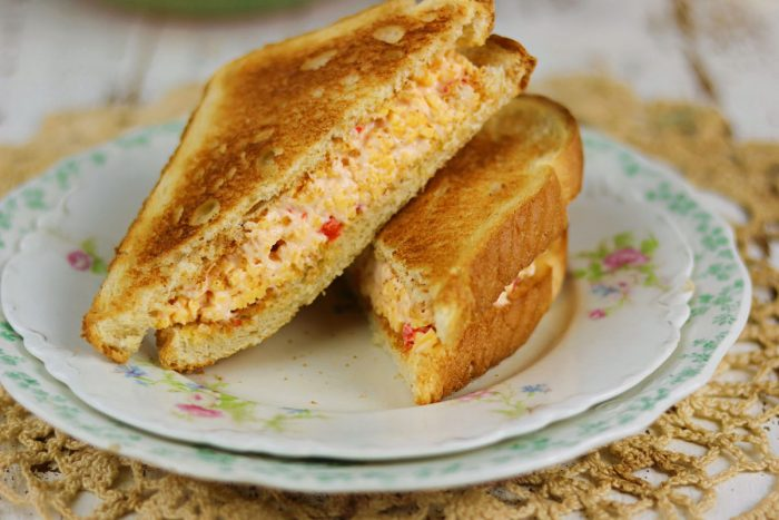 Pimento cheese sandwich showing the filling