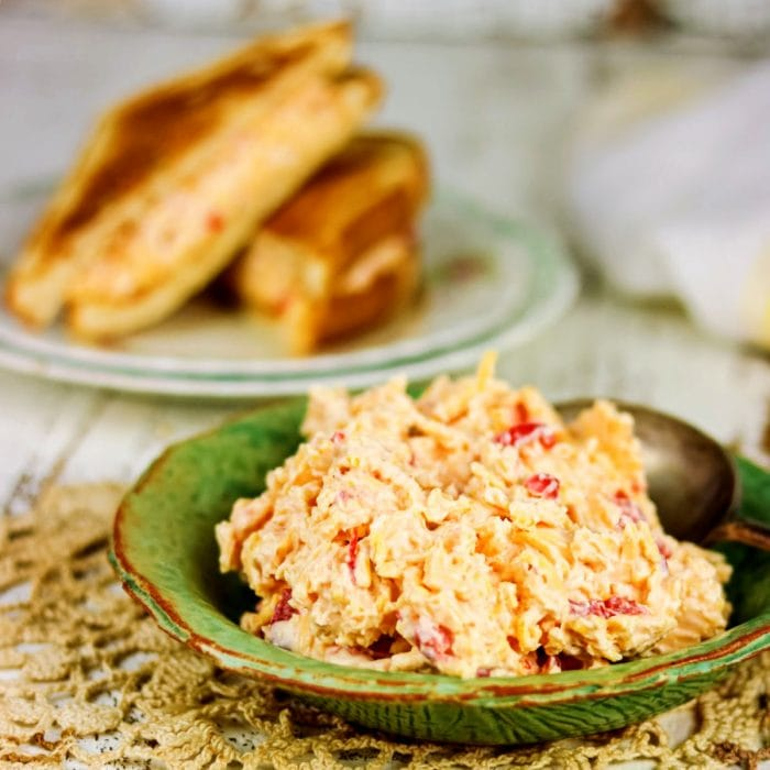 Bowl of pimento cheese on a table