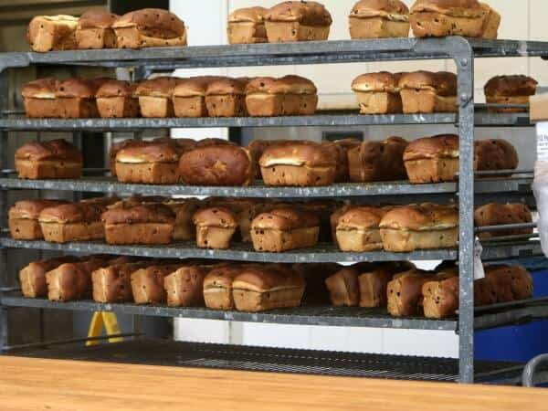 Bread cooling at Collin Street Bakery in Corsicana Texas