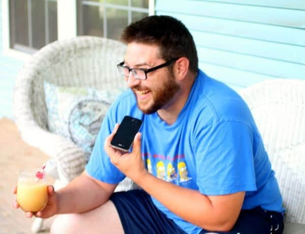 My son in law enjoying a coconut mai tai on the front porch. restlesschipotle.com
