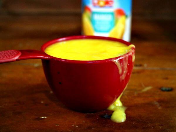 Homemade mango tango ice cream starts with mango puree #AD restlesschipotle.com
