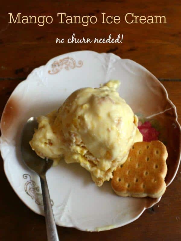 Homemade mango tango ice cream is rich and creamy without a churn! Crumbled lime cookies add a blast of flavor. #AD From RestlessChipotle.com