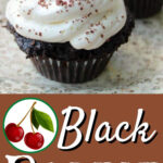 Chocolate cupcakes with whipped cream and a cherry on top on a plate with a text overlay for Pinterest.