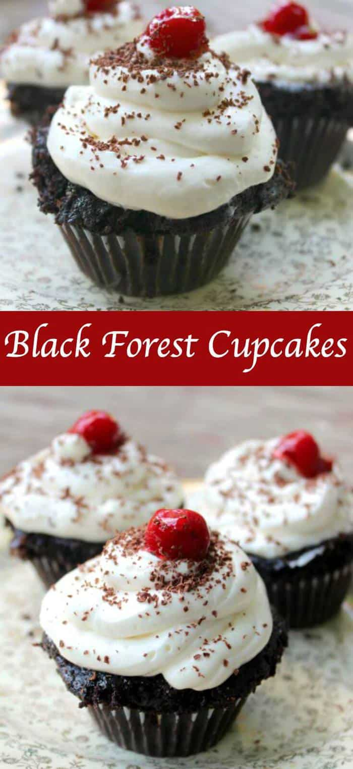 Perfect homemade chocolate cupcakes filled with a sweet cherry pie filling and topped with whipped cream - these Black Forest cupcakes are so easy to make! Kirsch adds more cherry flavor to the moist cake while a unique ingredient makes the filling really pop! A from scratch recipe you'll make often! #blackforest #piefillings #Chocolatecherry