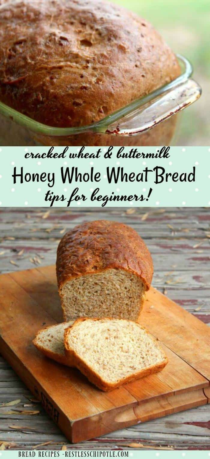 Best honey whole wheat bread recipe ever! Your whole family will love this nutty, chewy, slightly sweet bread recipe - easy enough for a beginner to make. SO good! From RestlessChipotle.com