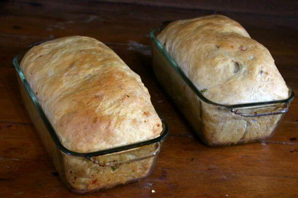 Hatch chile cheese bread is a gorgeous sandwich loaf with an unique flavor. From RestlessChipotle.com
