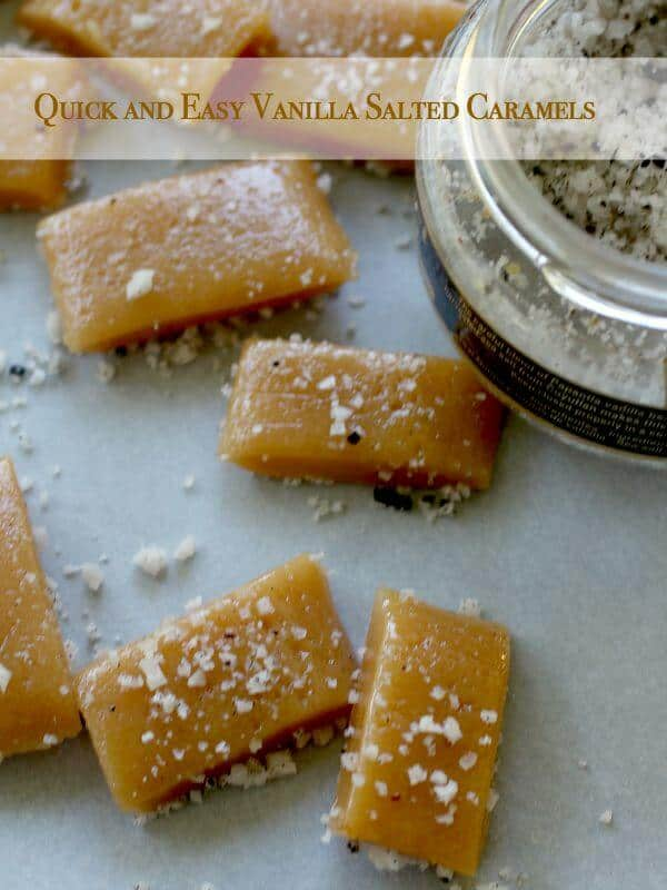 These quick and easy salted caramels are dusted with a few vanilla salt crystals to add texture and contrast to the buttery, sweet caramel. Ready in just 6 minutes and just 2 dishes to wash! From RestlessChipotle.com