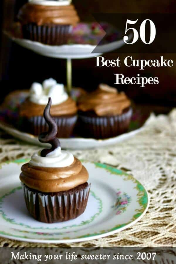 Pinterest image for 50 best cupcakes - chocolate cupcake on a white and green plate -