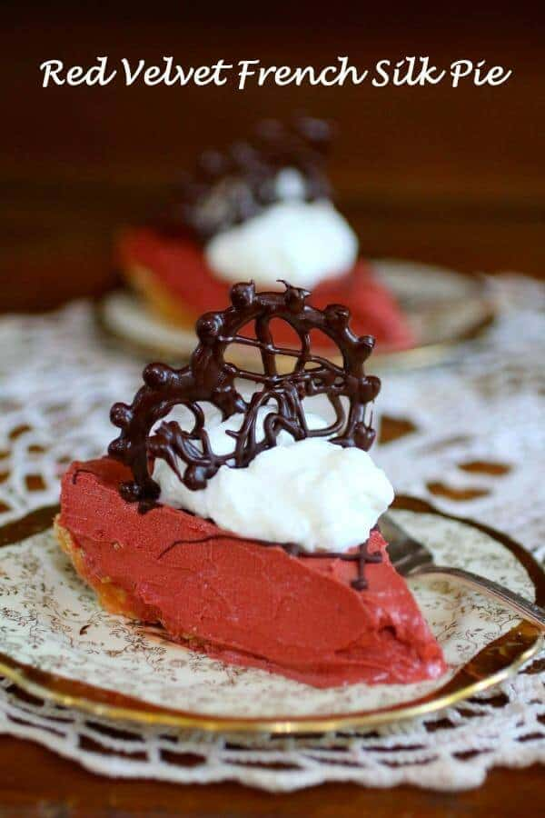 Red Velvet French silk pie has the texture of French Silk pie with the color and flavor of yummy Red Velvet. We love this! From RestlessChipotle.com