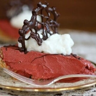 Red Velvet French Silk pie is creamy, rich, and full of Red Velvet flavor. Perfect for Christmas or Valentines Day! From RestlessChipotle.com