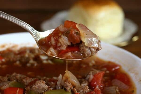 You can make stuffed pepper soup in the slow cooker or on top of the stove. From RestlessChipotle.com