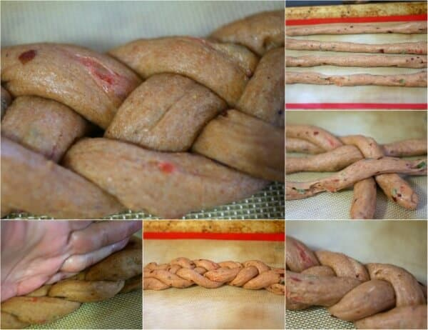 The first braid of the Viennese Christmas bread recipe is made of 4 ropes. From restlesschipotle.com