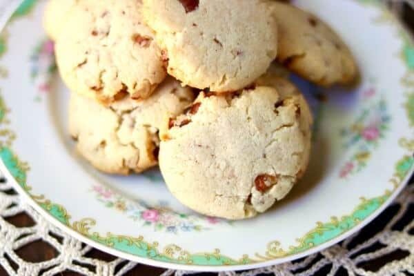 low carb pecan shortbread cookies on a plate
