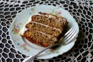 Pecan layer cake has just a splash of whiskey to bring out the richness and flavor. From RestlessChipotle.com