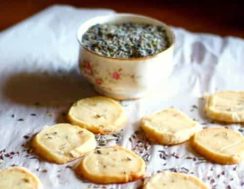 Closeup of the lavender shortbread cookies with a bowl of lavender buds nearby.