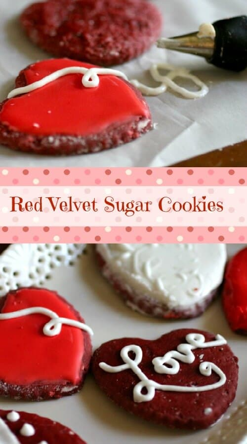 Red Velvet Sugar cookie cutouts are perfect for Valentine's Day! So pretty !! From restlesschipotle.com